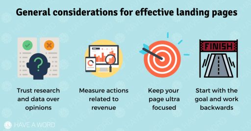 considerations for an effective landing page, landing page best practice guidelines