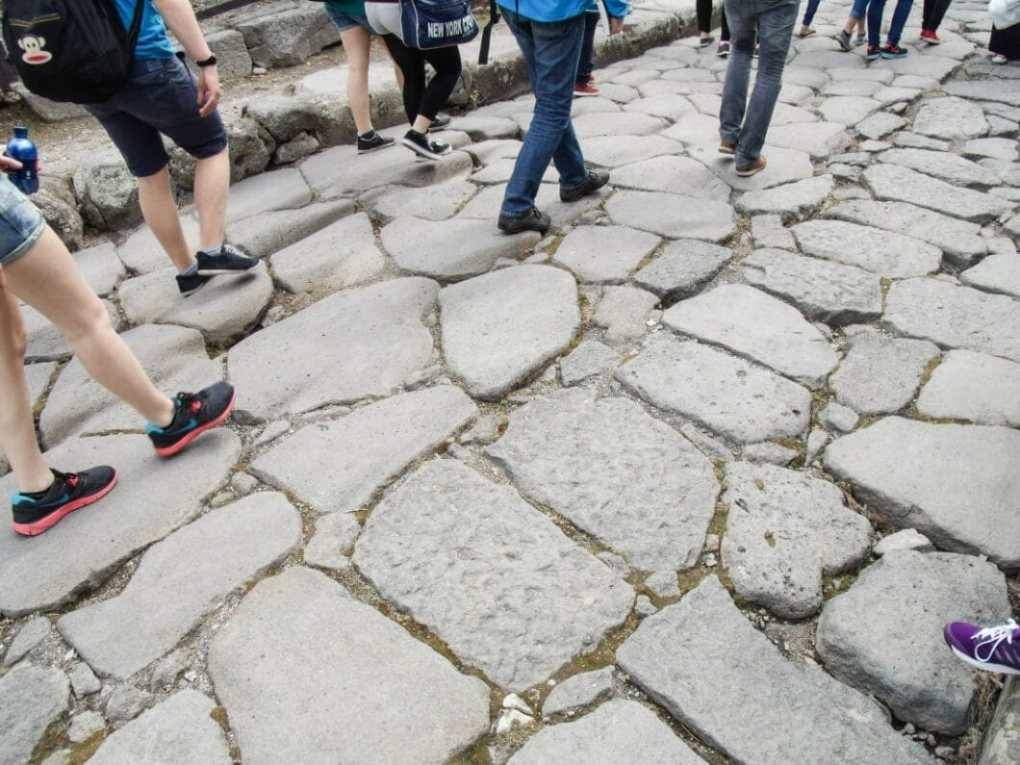 Walking the streets of Pompeii.