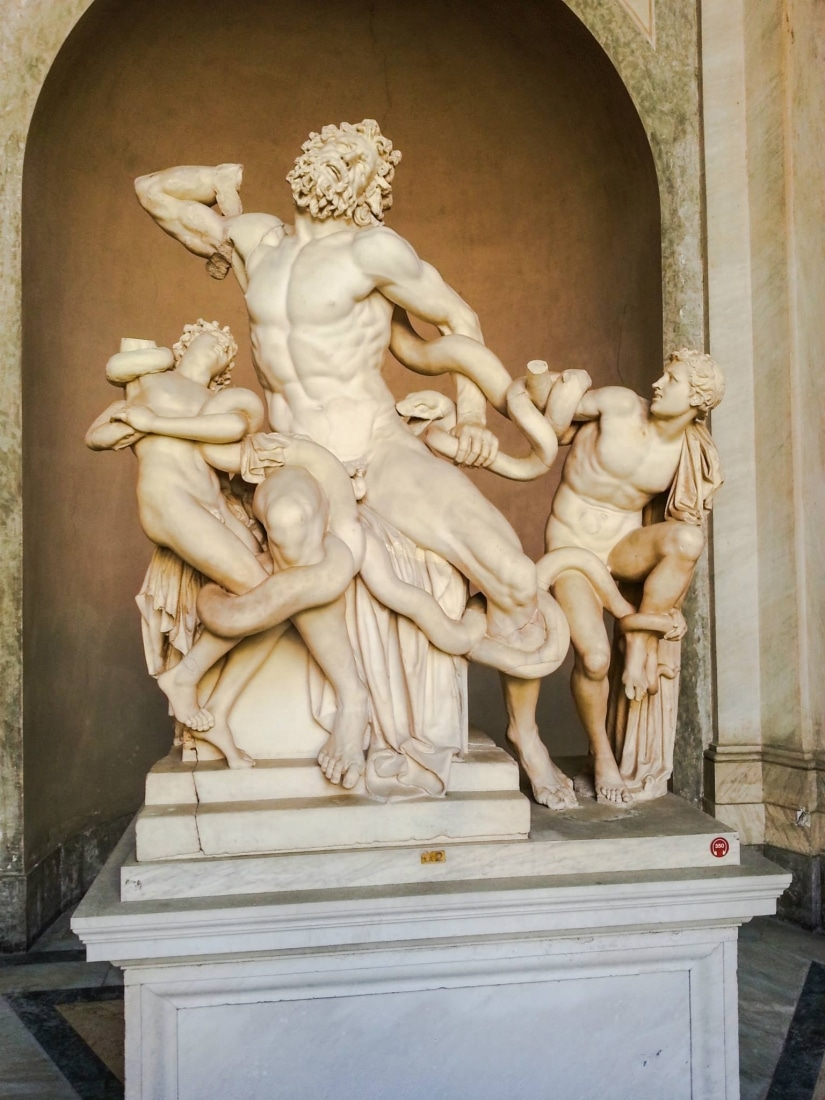 """""""Laocoön and his sons."""" Laocoon had tried to warn the Trojans about the Trojan horse. The goddess Athena became angry with him for this and sent two serpents to kill him and his sons."""