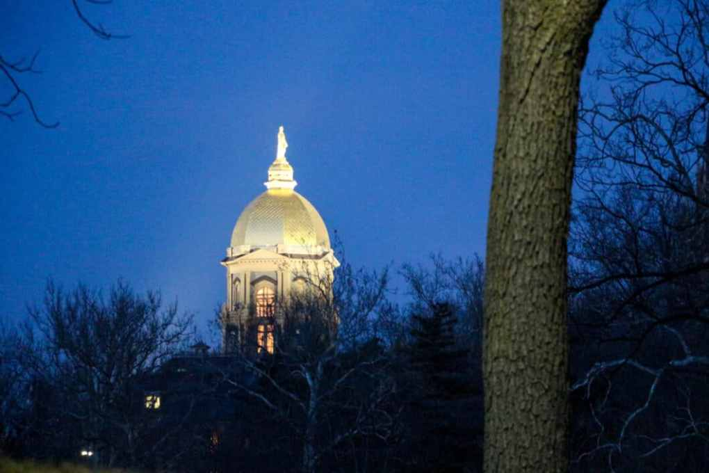 The Dome on Notre Dame's campus, with its statue of the Virgin Mary. (Photo credit: Trina.)