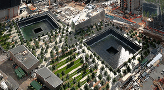 An aerial view of the 9/11 Memorial. (Image courtesy of Wikipedia.)