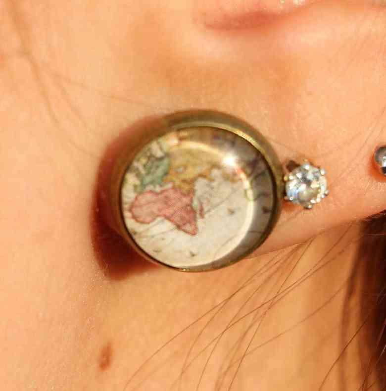 Handmade map earrings