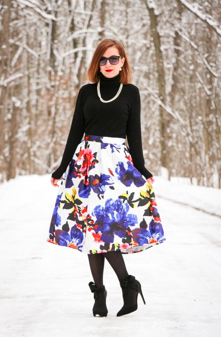 Floral midi skirt Shein