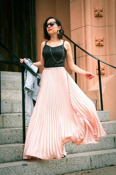 shein pleated maxi skirt