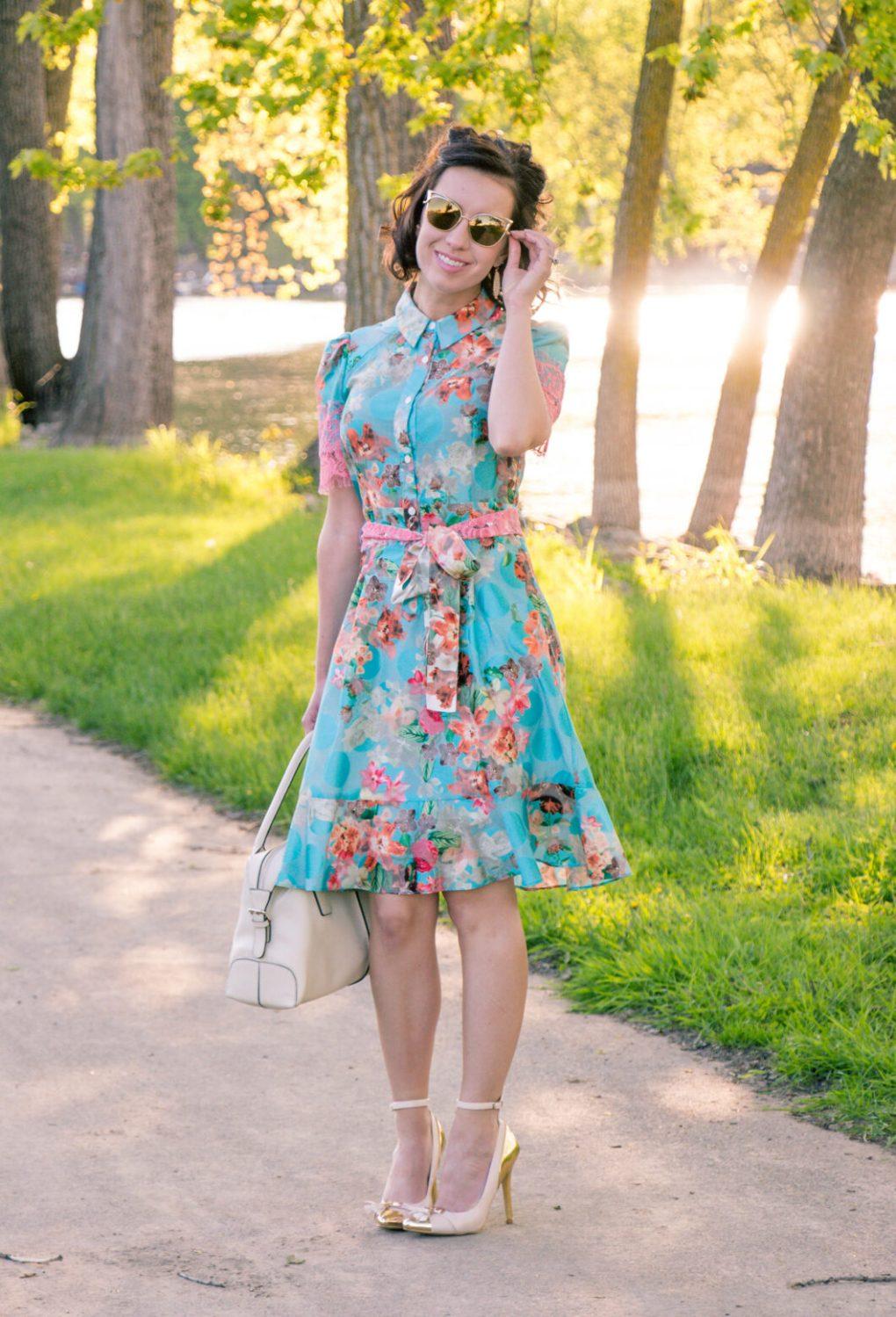 Yuna Yang Floral Print Button-up dress