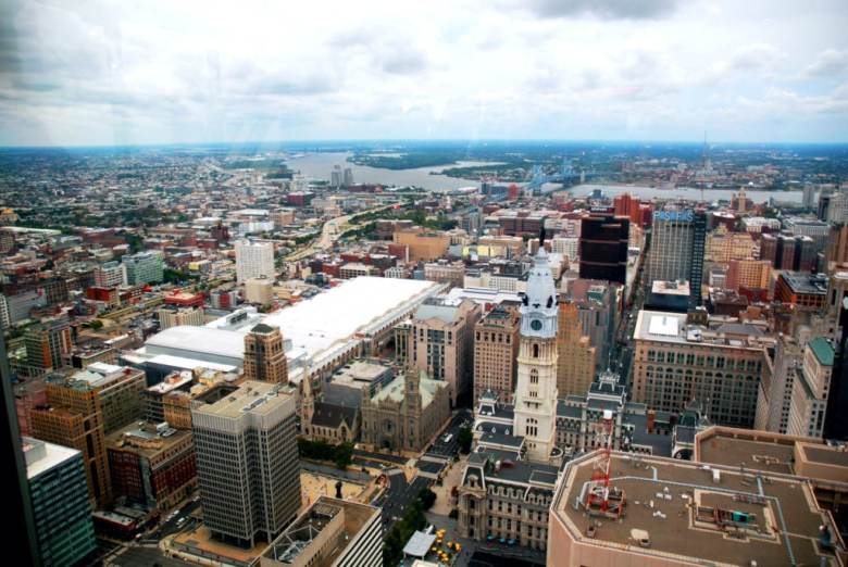 The view of Philadelphia from One Liberty Observation Deck