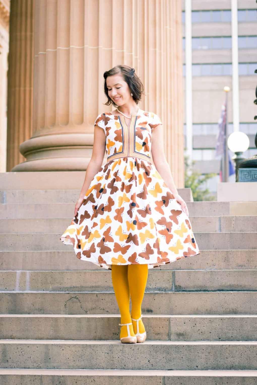 eshakti butterfly midi dress