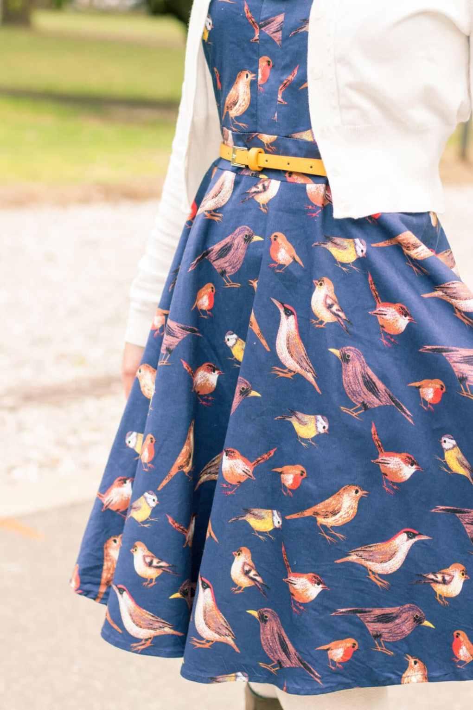 Navy Blue Bird Print Spaghetti Strap Midi Dress