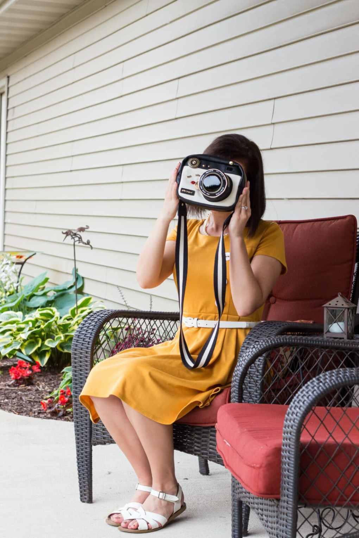 ModCloth Yellow Dress and Betsey Johnson Camera Purse
