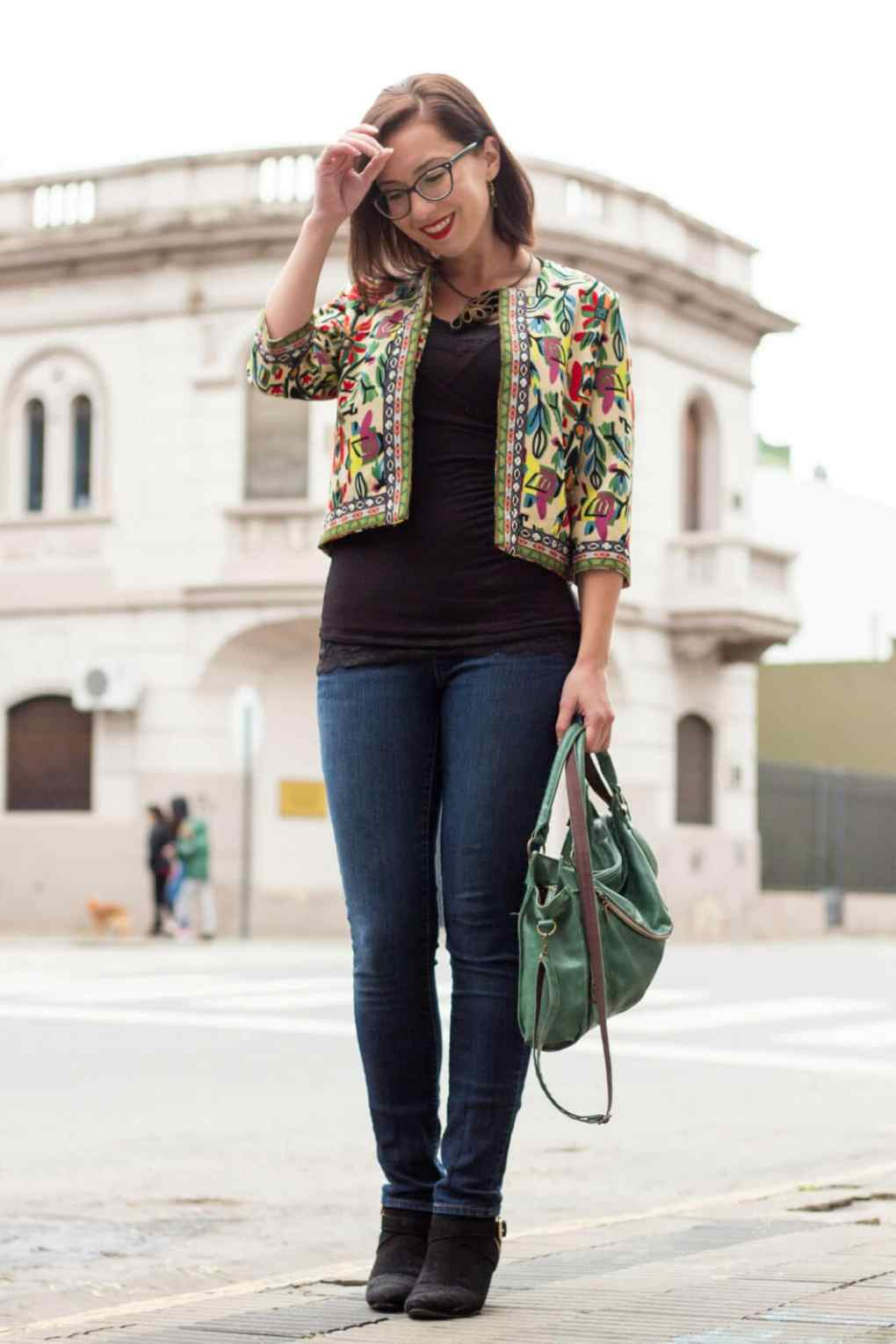 Shein floral cropped jacket
