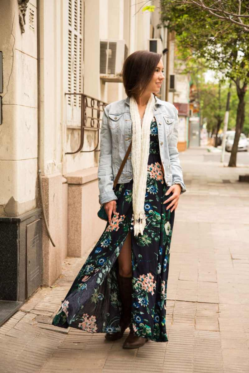 Styling a Floral Maxi Dress for Fall