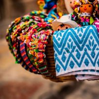 asket of traditional dolls and mexican crafts