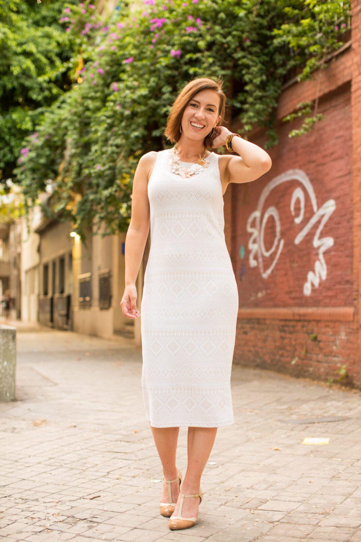 Cream sheath dress