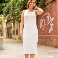 Cream sheath dress