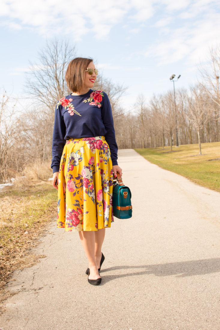 Shein floral sweater & ModCloth floral skirt