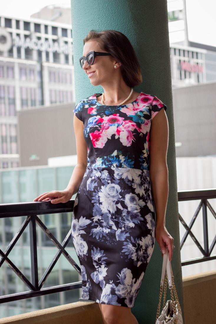 floral pencil dress mix and match print