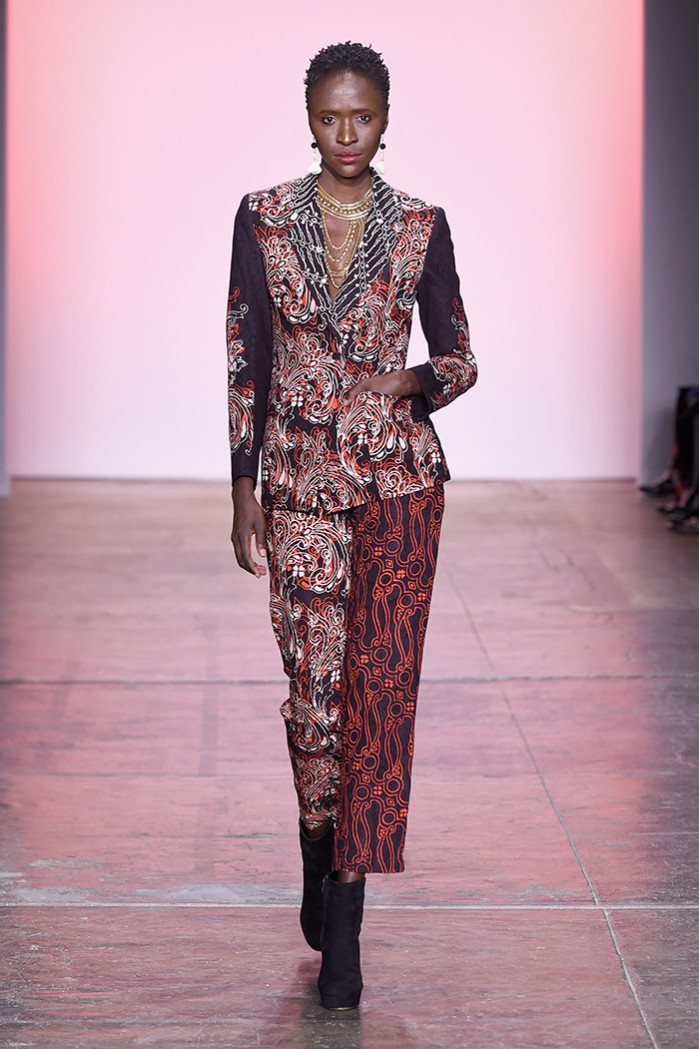 NEW YORK, NY - FEBRUARY 07: A model walks the runway for Alleira Batik during the Indonesian Diversity FW19 Collections: 2Madison Avenue, Alleira Batik, Dian Pelangi and Itang Yunas fashion show during New York Fashion Week: The Shows at Industria Studios on February 7, 2019 in New York City. (Photo by Yuchen Liao/Getty Images for Indonesian Diversity)