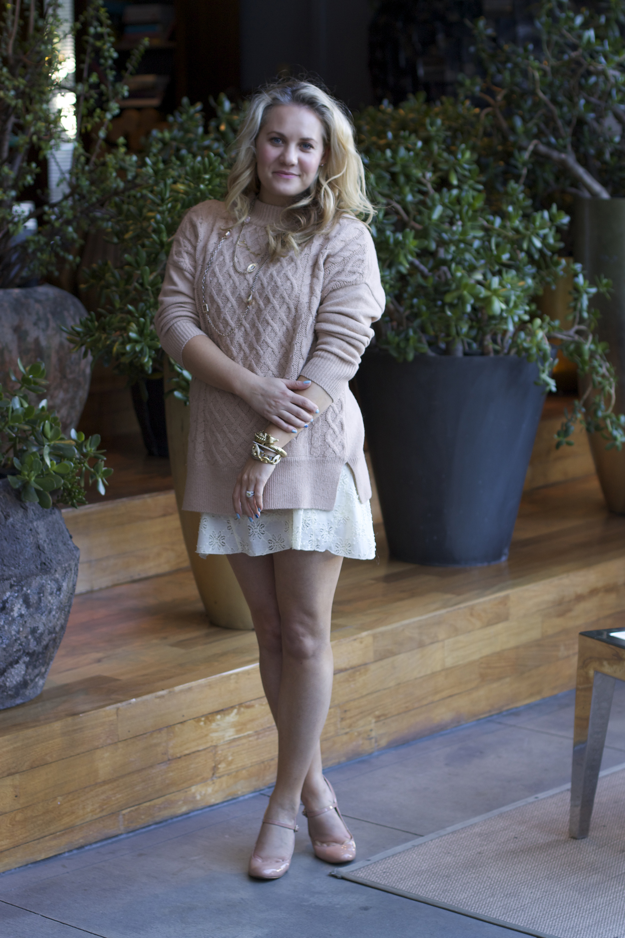 LuckyFABB, Joie Sweater, Free People Lace Dress, Nine West Shoes, How to layer, Neutral outfit ideas, Fashion blogger, Spring fashion, Spring outfit ideas, outfit inspiration, Layering, Lace Dress, Cable knit sweaters, LuckyFABB conference, LuckyFABB west