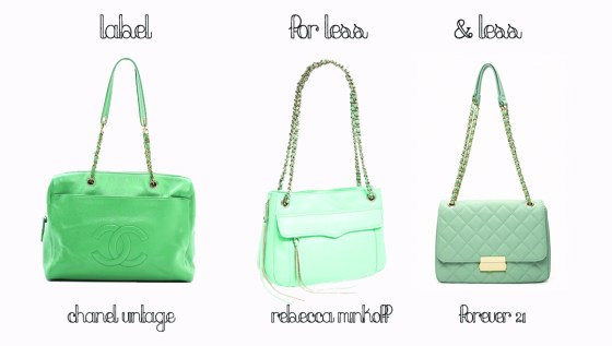 mint green handbags, metal chain handbag,  Spring trends, mint bag, Chanel handbag, Label for Less