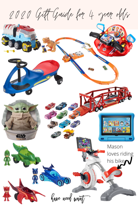 Sharing my 2020 gift guide for 4 year old boys on the blog! These are gifts any 4 year old boy would love to receive. #giftguide #giftideasforkids