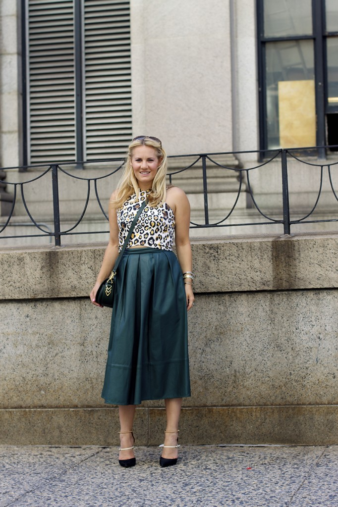 Animal print crop top-NYFW-tibi leather skirt-Schutz-Outfit inspiration 10