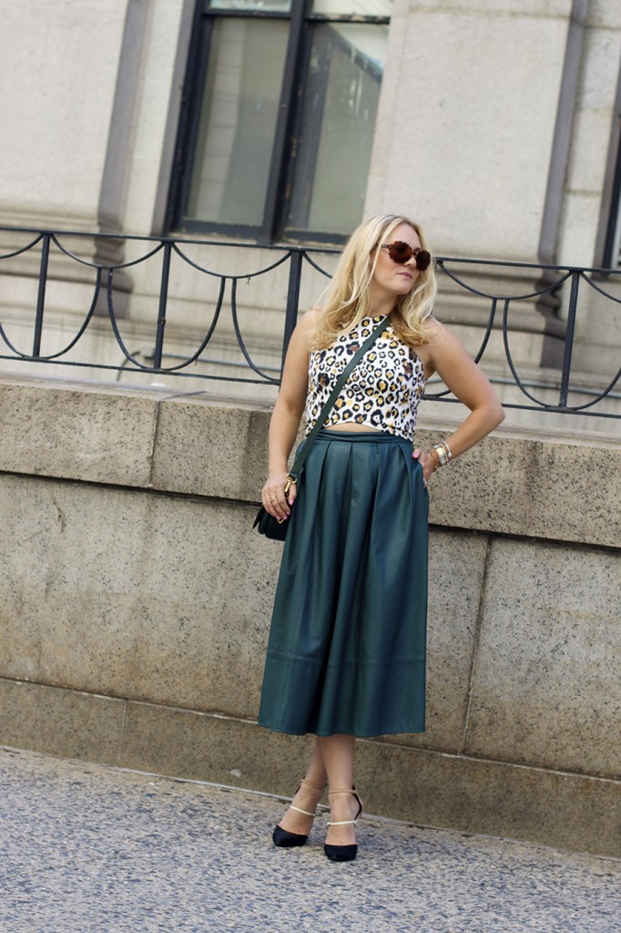 Animal print crop top-NYFW-tibi leather skirt-Schutz-Outfit inspiration 2