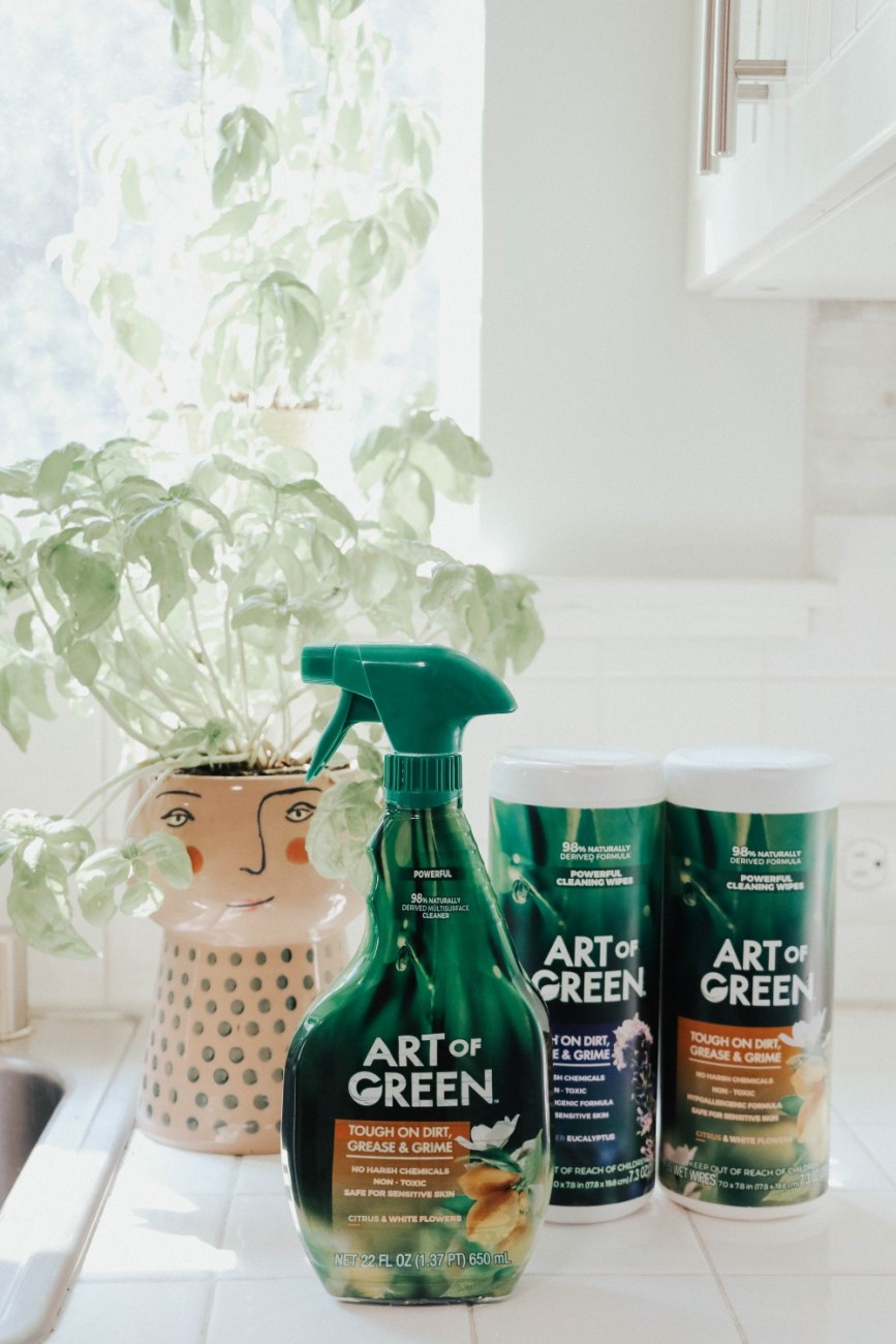 Art of Green eco-friendly cleaning products that are safe to use around kids and pets. #greencleaners #greencleaning #cleaningproducts