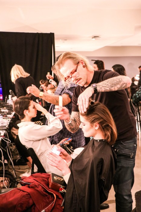 Backstage at Badgley Mischka FW19 Runway Show. Click on the photo to read the post + see my favorite looks. #NYFW #BadgleyMischka #BackstageAccess