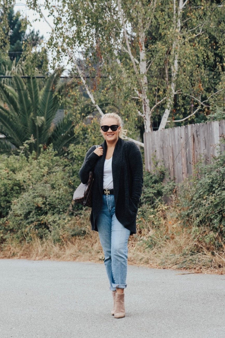 Barefoot Dreams circle cardigan and ankle booties for an easy everyday fall outfit.