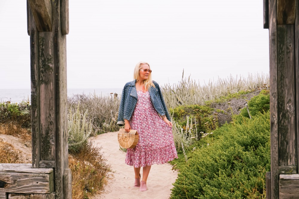 Breezy Beach Dress-Summer Floral Dress-Rebecca Minkoff-Outfit Inspiration-Visit Half Moon Bay-Denim Moto Jacket-Summer Style-Have Need Want