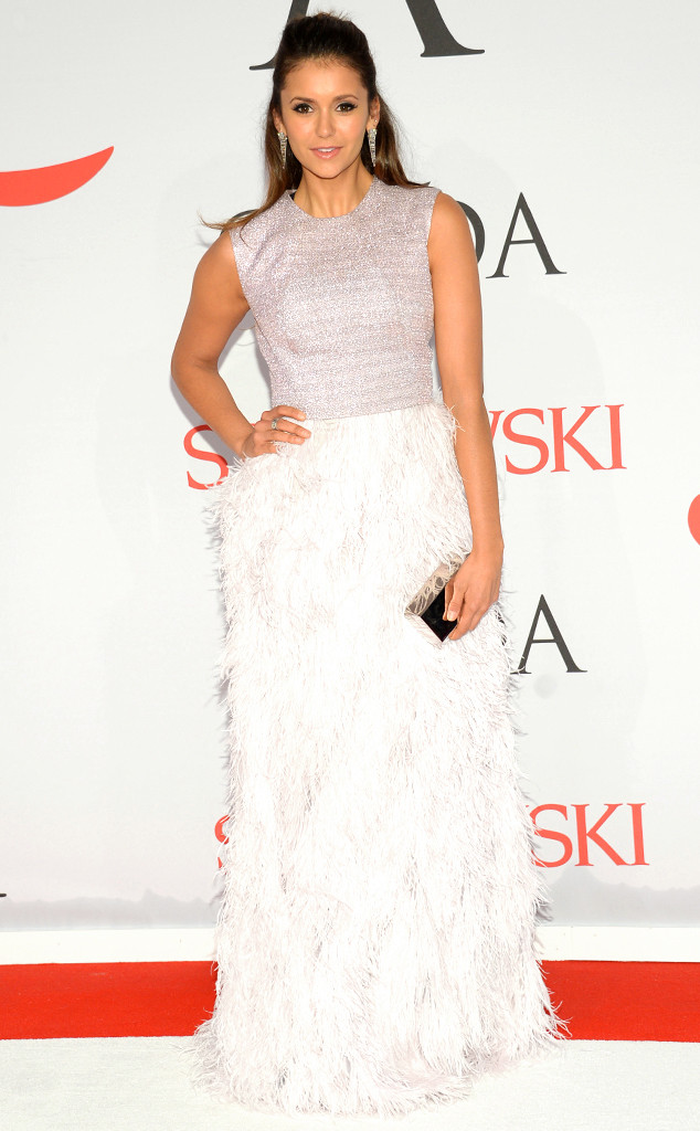 CFDA Fashion Awards Nina Dobrev Lela Rose Feathered Maxi Skirt