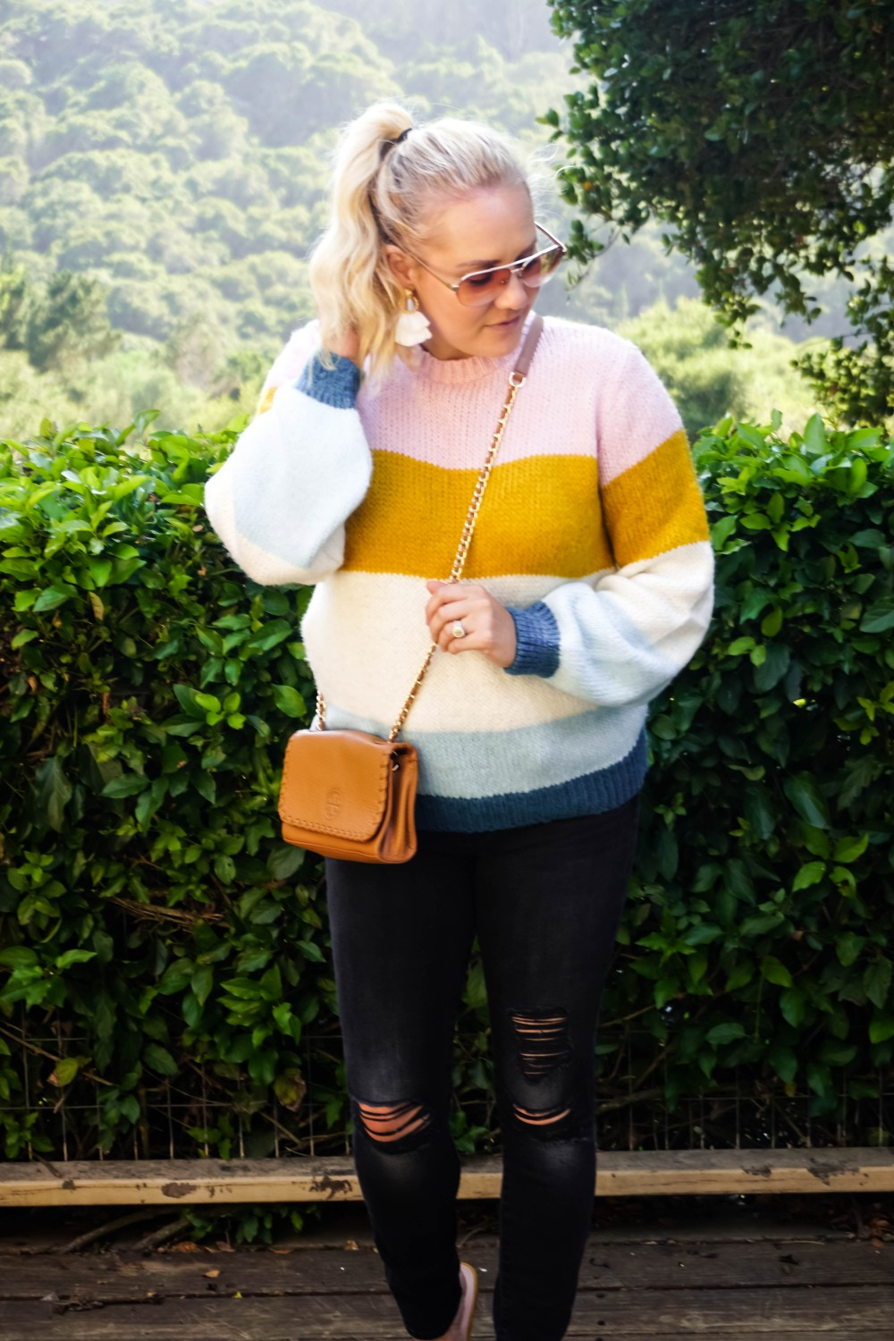 Colorblock Sweaters, Topshop Colorblock Knit Sweater, Fall Fashion, Outfit Inspiration, Tory Burch Crossbody, Steve Madden Slides, Have Need Want