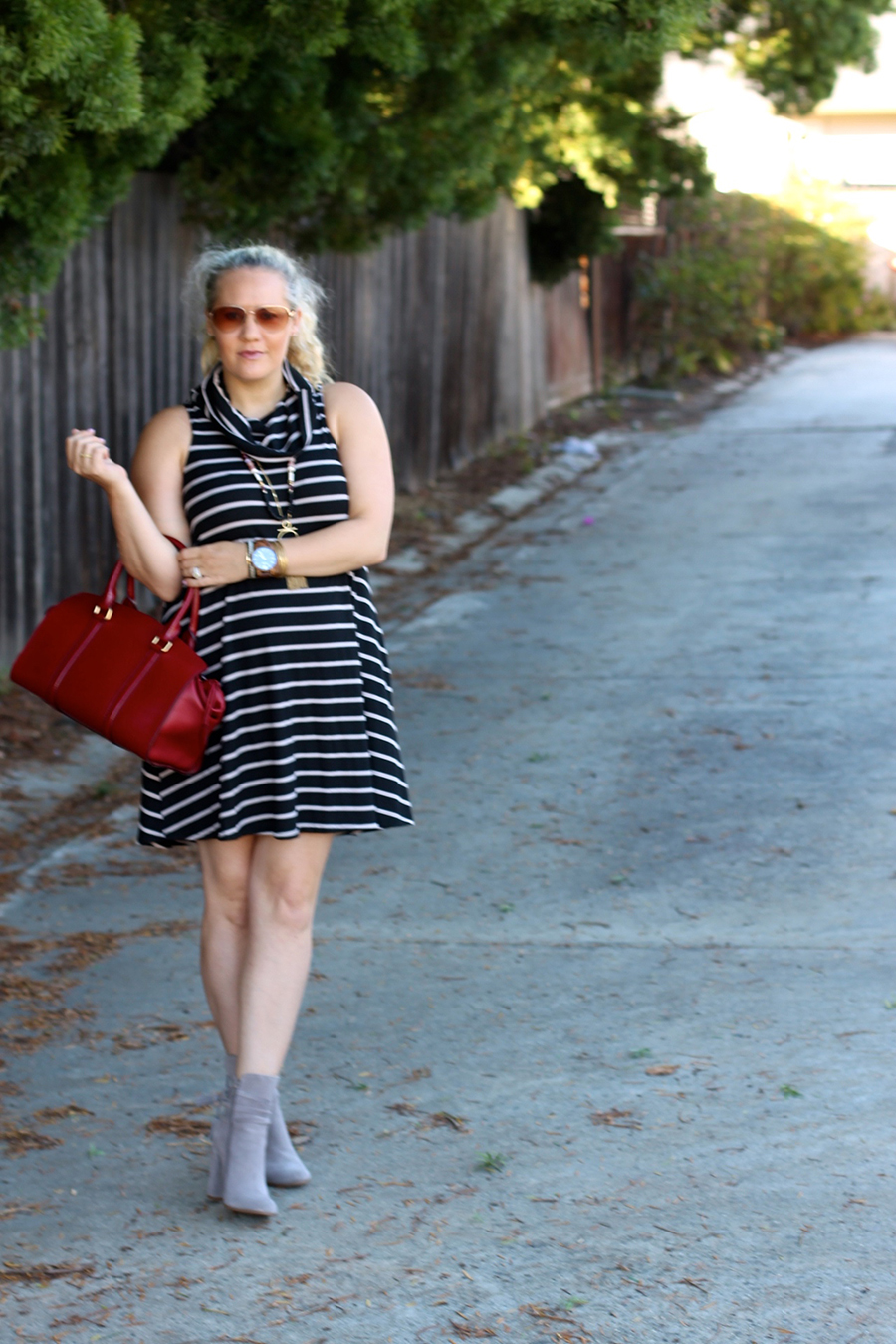 cowl-neck-shift-dress-have-need-want-steve-madden-booties-burberry-handbag-bay-area-fashion-blogger