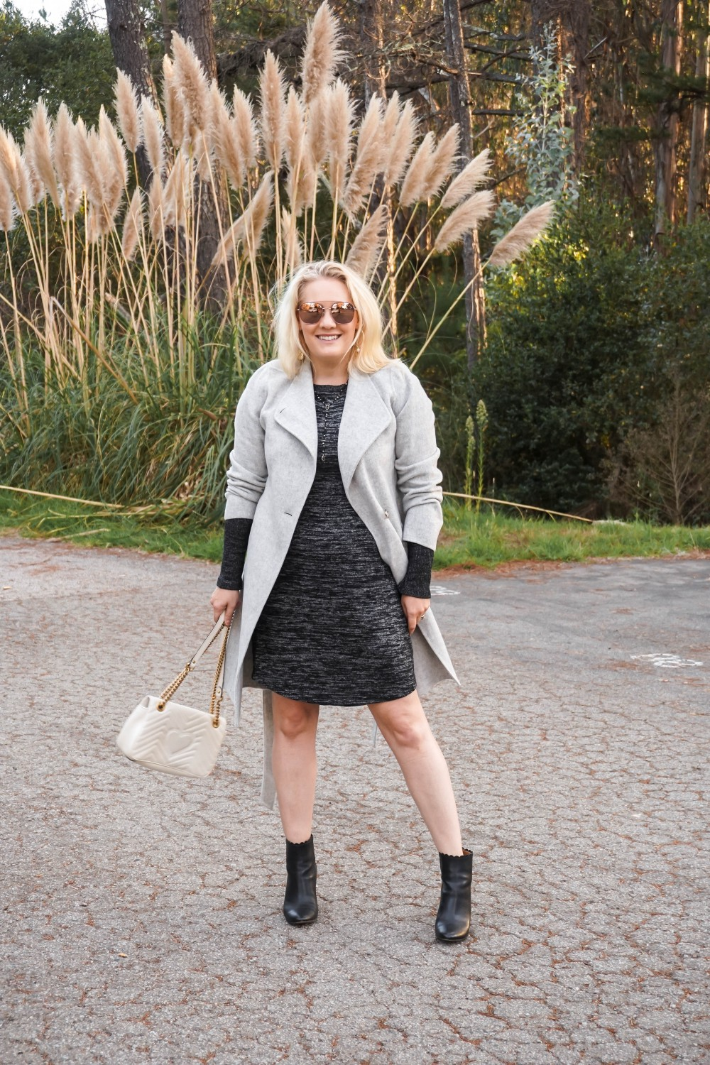 Winter Outfit Wearing Talbot's Wool Wrap Coat Over My Knit Long Sleeve Dress - Have Need Want