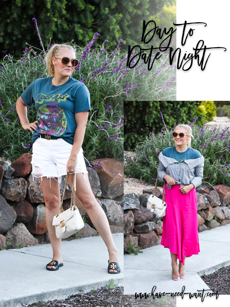 From day to date night styling a graphic tee on Have Need Want! Head over to the blog to check out how I transitioned a trendy graphic tee from casual to dressed up with a few simple swaps! #graphictee #stylingtips #targetstyle #summeroutfit #outfitinspiration