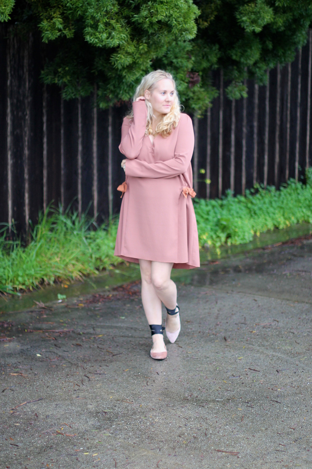 Dusty Pink Dress-See by Chloe-Valentines Day Outfit-Outfit Inspiration-Ankle Tie Flats-Have Need Want 9