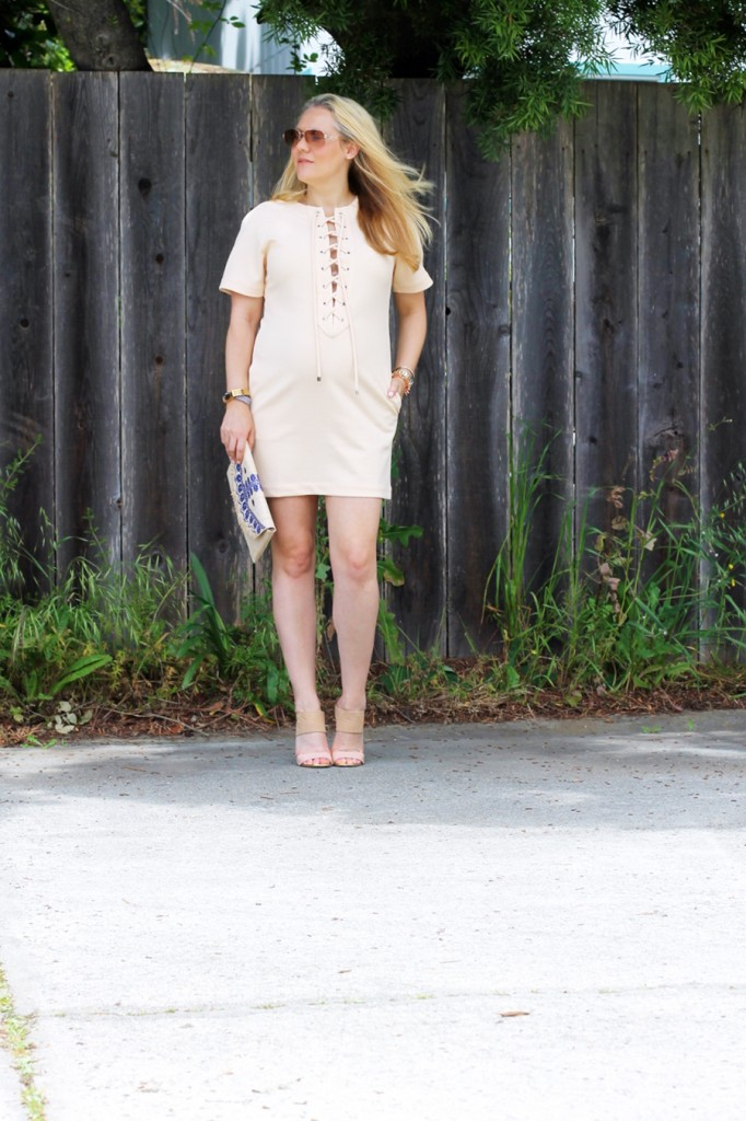 English Factory Lace Up Dress-Bay Area Blogger-Outfit Inspiration-Maternity Style-Stella & Dot Clutch-Summer Style-Pregnancy Style-Have Need Want 9