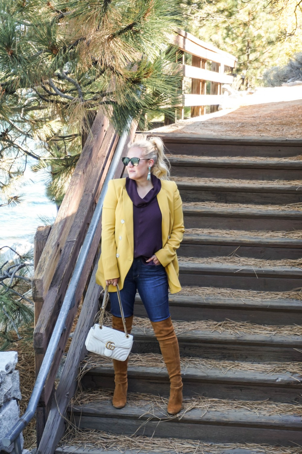 Fall Color Crush Mustard and Maroon, Fall Style, Fall Fashion, Fall Colors, Boyfriend Blazer, OTK Boots, Stuart Weitzman Boots, Gucci Bag, Express Blazer, Joe's Jeans, Kendra Scott Earrings, Have Need Want