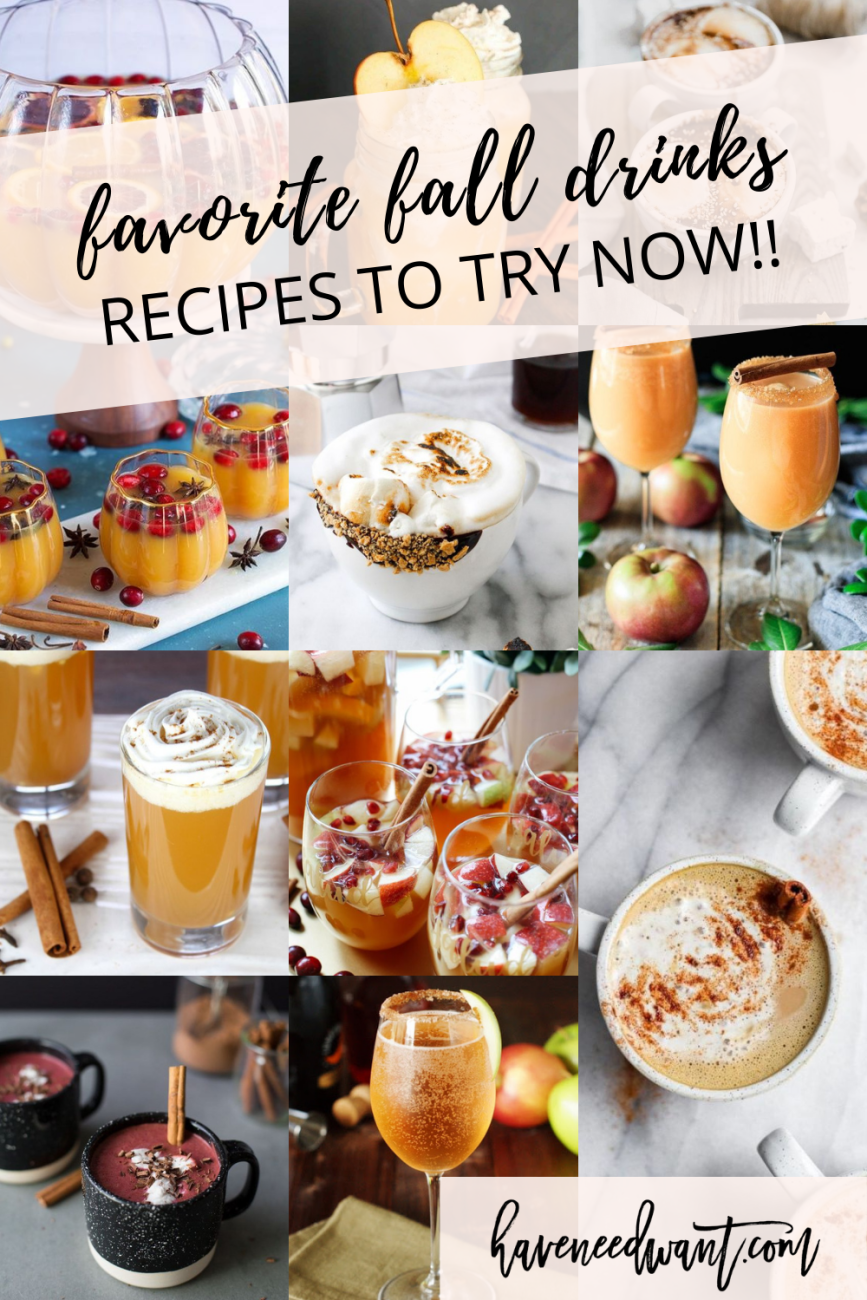 Sharing 10 of my favorite fall drinks! Some are alcoholic and others are non-alcoholic. Click on over to check out the roundup! #falldrinks #fallfavorites