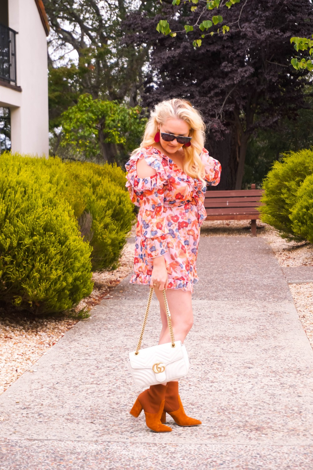 Fall Transition Outfit, Fall Ruffle Floral Romper, Sock Booties, Tom Ford Sunglasses, Gucci Marmont Bag, Outfit Inspiration, Have Need Want