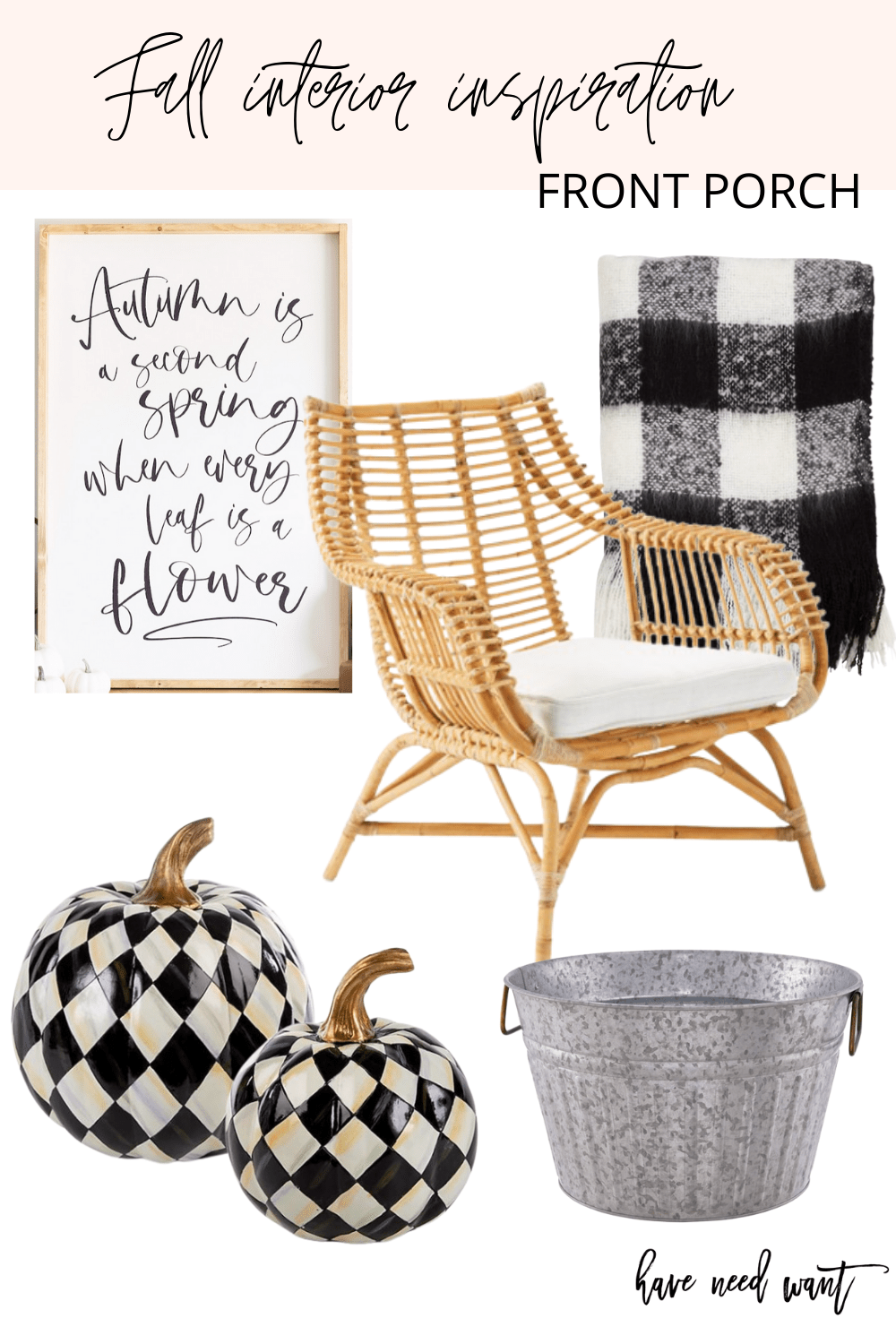 Fall front porch inspiration and decor. Buffalo check throw blanket, woven accent chair, Mackenzie Childs pumpkin accents for a chic fall porch.