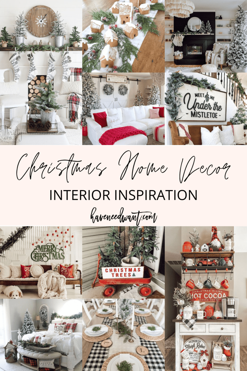 Sharing my favorite Christmas home decor and interior inspiration on the blog! Click on over to the post to check it out and get into the spirit of the holidays!! #homedecor #holidayhomedecor #christmasdecorations