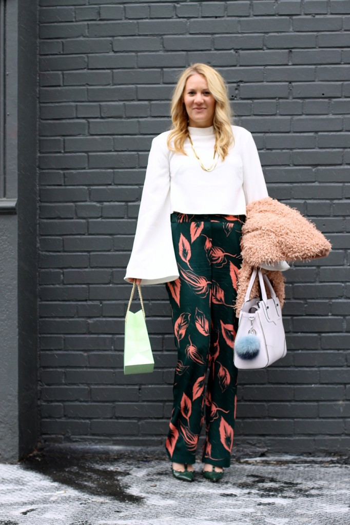 Flared Sleeve Crop Top-NYFW Steet Style-Fashion Blogger-Valentino Rockstuds-Boucle Jacket-English Factory-Nordstrom Signature Collection Pants 9