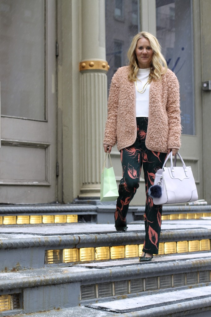 Flared Sleeve Crop Top-NYFW Steet Style-Fashion Blogger-Valentino Rockstuds-Boucle Jacket-English Factory-Nordstrom Signature Collection Pants