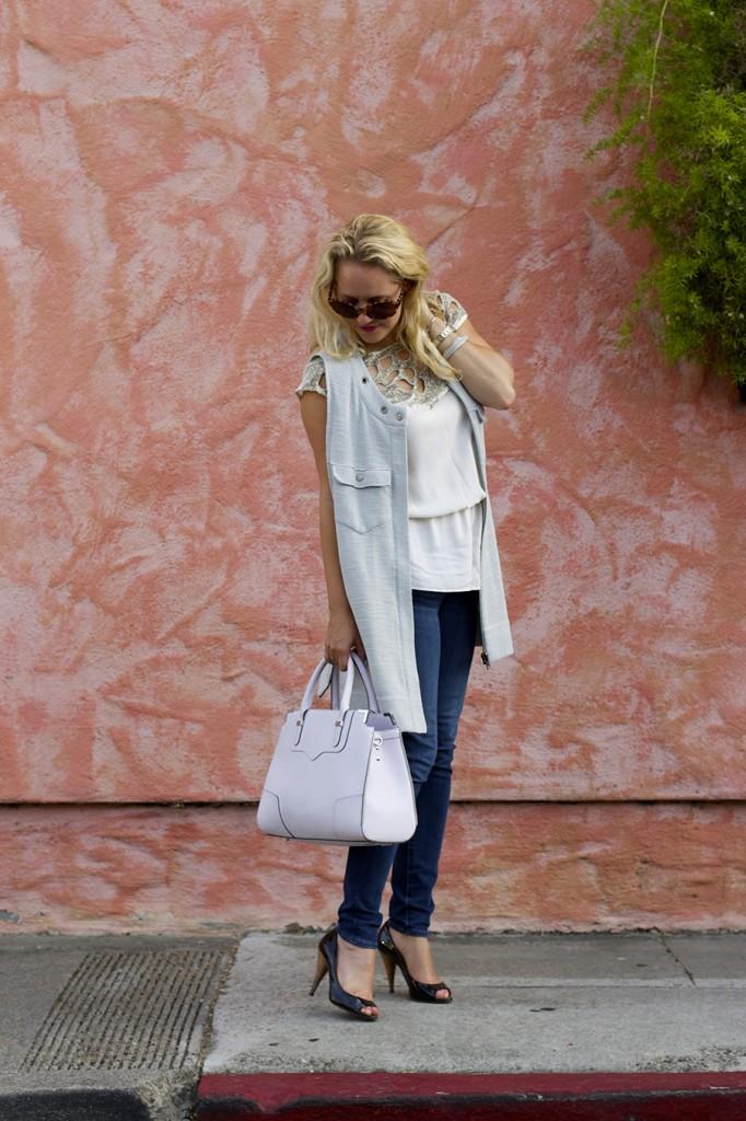 Free People Vest Miu Miu Patent Leather Peep-toe pumps Rebecca Minkoff Handbag Embellished top Fashion Blogger 11