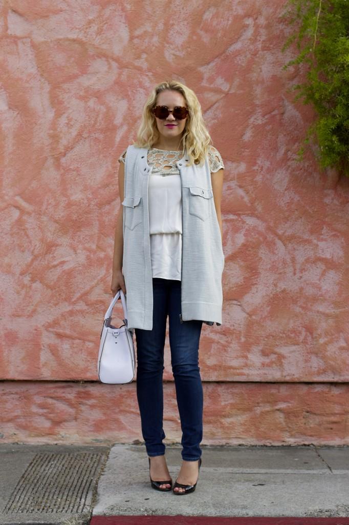Free People Vest Miu Miu Patent Leather Peep-toe pumps Rebecca Minkoff Handbag Embellished top Fashion Blogger 12