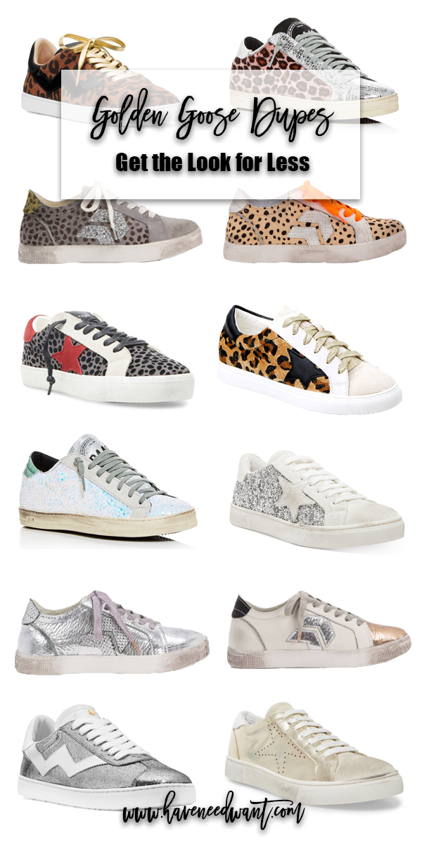 Check out my favorite Golden Goose dupes and look-a-likes for less on Have Need Want! #goldengoose #goldengoosedupes #sneakers #stevemadden #dulcevita #p448sneakers #stuartweitzman