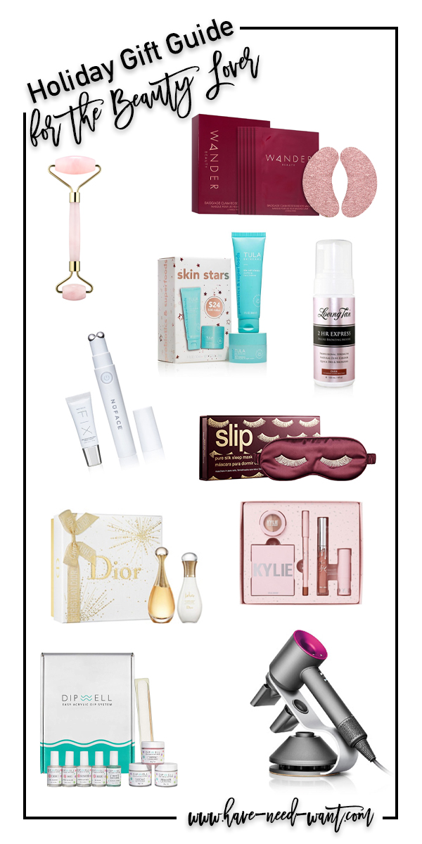 Awesome holiday gift ideas for the beauty lover on your shopping list! These are some of my current faves or items I have on my personal wishlist! #holidaygifts #holidaygiftguide #beautygifts #skincare #haircare