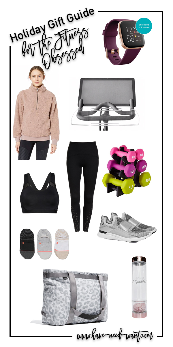 The perfect gift guide for the fitness obsessed ladies on your shopping list! I personally have most of the things on this list!! Head to the blog to get all the details! #fitness #giftguide #holidaygiftideas #fitnessgiftideas