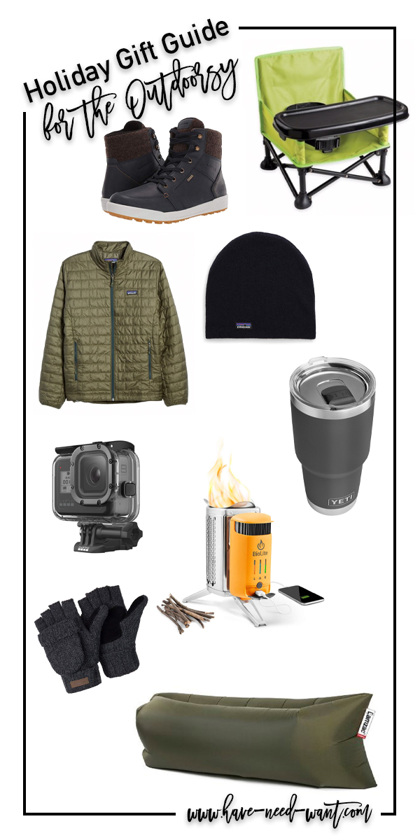 Sharing a fun gift guide for the outdoorsy dad! From items to help him capture his adventures to a chair fit for a baby to tag along. Head to the blog to get all the deets! #holidaygiftguide #outdoorsygifts #giftguide